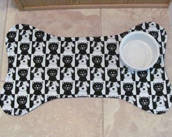 Dog Bone Pet Placemat, Black and White Pet Food Mat, Dog and Cat Print Pet Placemat, Pet Mat, Dog Bone Mat