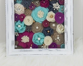 Rustic and Distressed White Shadowbox with Felt Flowers