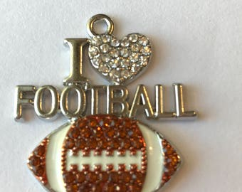 1 beautiful, rhinestone and silver tone I Love Football charm - pendant - sparkling deep amber color rhinestone football -rhinestone heart
