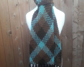 Crochet Argyle Scarf, brown/blue