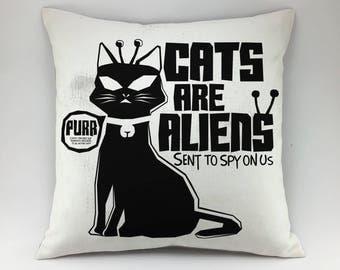 Funny cat pillow case, Alien Cat pillow cover, Decorative pillow, Throw pillow cover, Cushions, cat pillow case, cat slogan pillow case