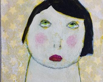 Original Art Card – Mixed Media ACEO – Woman ACEO - ATC – Contemporary Art Card - Affordable Small Art