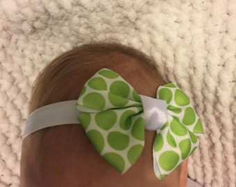 Lime Dots Baby Headband or Hair Clip