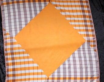 Vera Neumann Large Square Orange and Brown Geometric Scarf with Large Orange Center Square