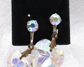 SBE # 11 Valentine's Day Vintage Aurora Borealis Clear Crystal Heart-Shaped Screw Back Earrings