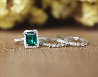 Emerald Ring 6mm*8mm Emerald Shape Ring,Full Eternity Diamonds Band Set in 14K White Gold/Wedding&Engagement Ring/Anniversary Ring/Unique
