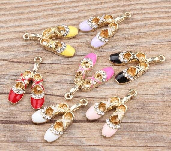 Shoe Charm Bracelet: Ballet Shoe Charms 10PCS 1727mm Enamel Charms Bracelet
