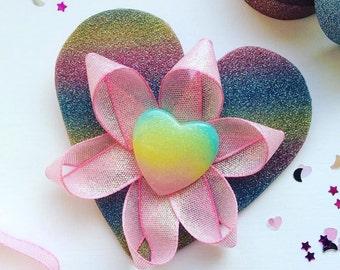 Super sparkly rainbow glitter heart barrette hair clip