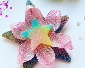 Super sparkly rainbow glitter star barrette hair clip