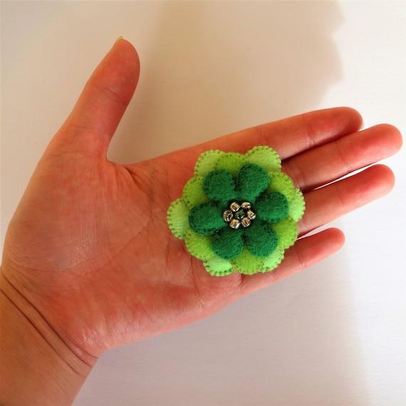 Green Plush Flower Brooch