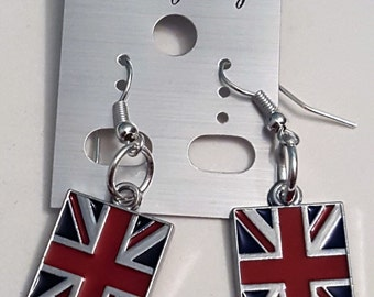 Tibetan Silver, Union Jack/Union Flag/Britain/United Kingdom Flag Earrings