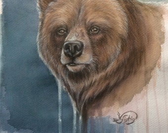 """Brown bear"" original watercolor acrylic mixed media"