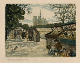 """JOSEPH V. ROUX-CHAMPION (French, 1871-1953), """"Booksellers along the Seine"""", ca. 1910, original etching, pencil signed"""
