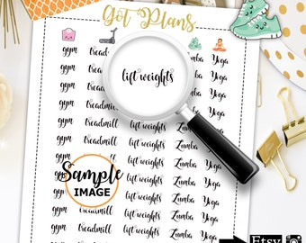 Fitness Planner Stickers, Fitness Stickers, Printable Planner Accessories, Functional Stickers, Word Stickers
