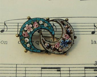 Antique Italian Micromosaic Micro Mosaic Brooch / Pin with Moons & Flowers c1900