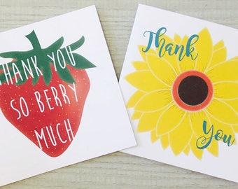 "Set of 10 Beautiful ""Thank You"" Notecards"