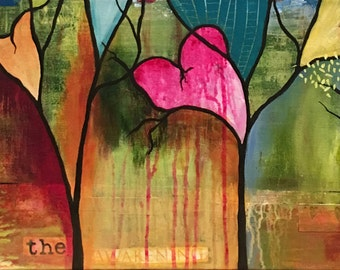 Mixed Media  Abstract Landscape Painting, Trees, and Bold Colored Forest, Abstract Expressionist Style, Hearts