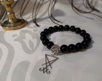 Satan Sigil Beaded Bracelet Satanic Jewelry short mala satanic rosary 18 beads handmade spiritual satanism gift