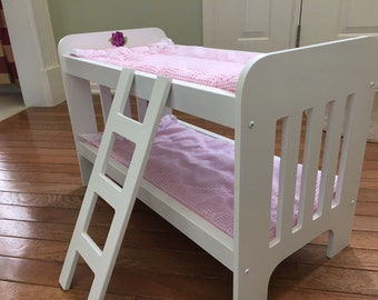 """18"""" Doll Hand-Painted Bunk Bed with Bedding & Optional Trundle, Hydrangea"""