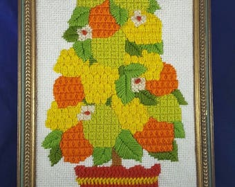 Vintage Needlepoint 70s Artwork Potted Plant Lemon Lime Green Orange Yellow