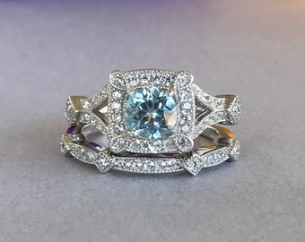 Art Deco Natural Round Aquamarine Simulated Diamond Engagement Set Solid Sterling Silver 2PC Fancy Wedding Engagement Promise Band Ring Set