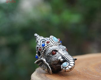 Tibetan Silver Guru Beads , 1pcs Carved Ganesha [Elephant Head Boddha] Guru Bead , Spacer Beads DIY Accessories Jewelry Findings 3 Hole 20mm
