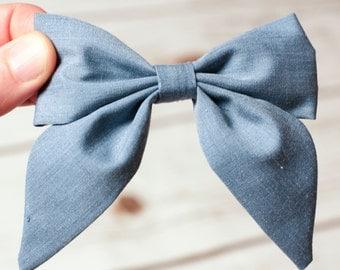 Chambray Blue Sailor Bow