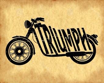 Triumph Motorcycle - Triumph Motorcycle Sign - Triumph Motorcycle Art - Triumph Motorcycle Art- Triumph Motorcycle Print  (JS00262)
