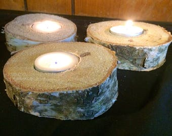 Set of 3 large white birch candle holders