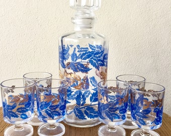 Vintage Blue and Gold Leaf Decanter Set with 6 Small Glasses Bar Cart