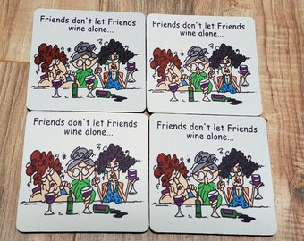 Friends Don't Let Friends Wine Alone Fabric Coaster Individual/Set