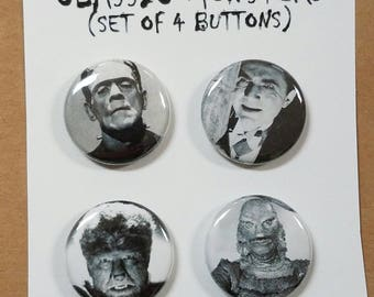 """Classic Monsters (Set of 4) 1"""" Button or Magnet"""