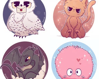 Pets of Hogwarts Stickers. Hedwig, Arnold, Norbert, Crookshanks, Pigwidgeon, Fluffy, Arnold, Trevor.