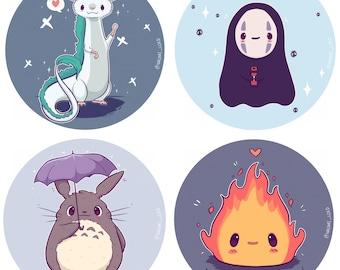 "Chibi Ghibli Stickers and Prints, 8x8"", Haku, No Face, Totoro, Calcifer."