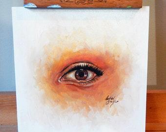 Eye Study - Original Mini Oil Painting Artwork on MDF Board