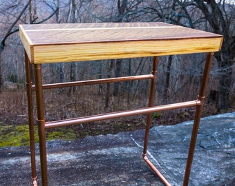 Reclaimed wood side table - copper legs