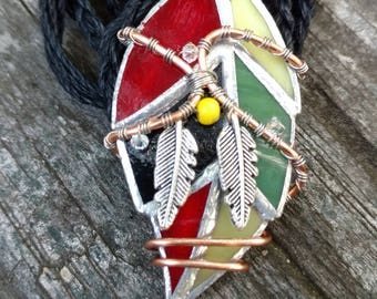 Stained Glass Feather Necklace