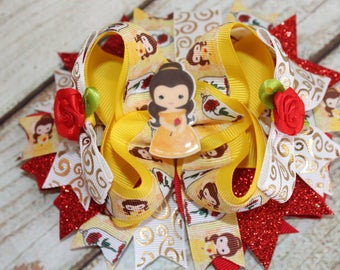 Belle Bow -Cake smash Princess - Photoprop Princess Belle Hair Bow large big Hair bow beauty and the beast Hair Bow Big Bow