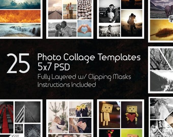 5x7 Photo Collage Template Pack, 25 PSD Templates, Photoshop Collage Templates, Scrapbook, Storyboard Templates, Photoshop - Illustrator