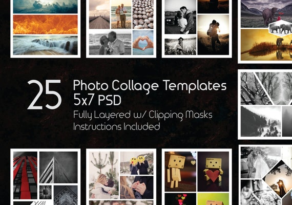 5x7 photo collage template pack 25 psd templates photoshop