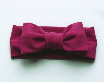 headband - big bow headband - magenta headband - stretchy headband - bow headband - baby headband - toddler headband