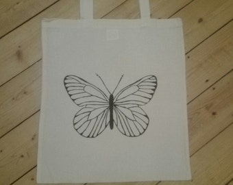 Jute bag Butterfly/butterfly, hand painted