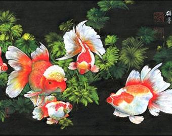 Giclee Print, Art, Artwork, Fine Art, Painting, Home Decor, Gift, Print, Samuels Art, Present, Wall Decor, Goldfish, Black