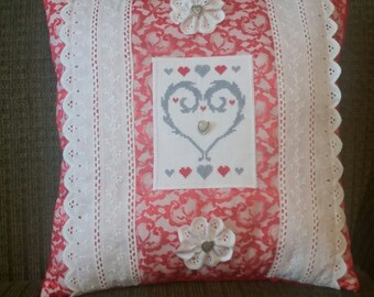 Red and grey geometric hearts. Romantic pillow Made in USA