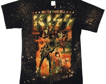 Vintage kiss Hotter Than Hell hand bleached classic rock band t-shirt