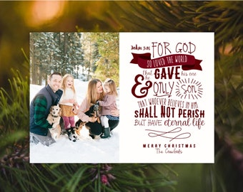John 3:16 Religious Christmas Photo Card