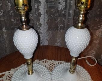 Hobnob Milk Glass Lamps