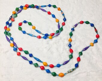 Rolled Paper Bead Long Necklace