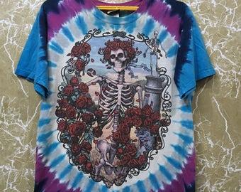 Vintage 90s 1995 Grateful Dead T-shirt full print tie dye colour over print hippie T-shirt M size