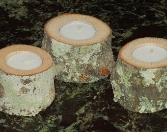 Small Wood Candle Holders, Set of 3, Perfect for Crystal Healing, Manifesting, Reiki, Wiccan or Home Decor